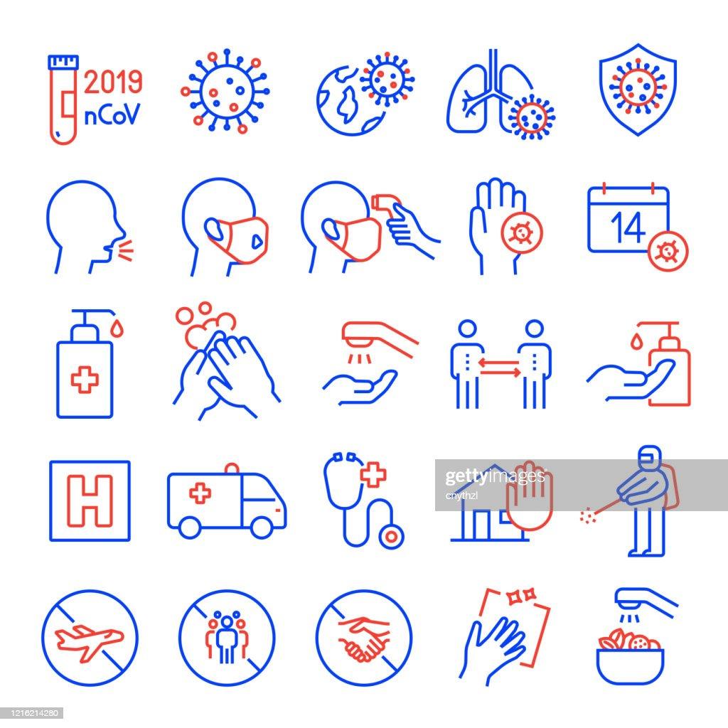 Ensemble de Coronavirus 2019-nCoV Related Line Icons. Accident vasculaire cérébral modifiable. Icônes de contour simple. : Illustration