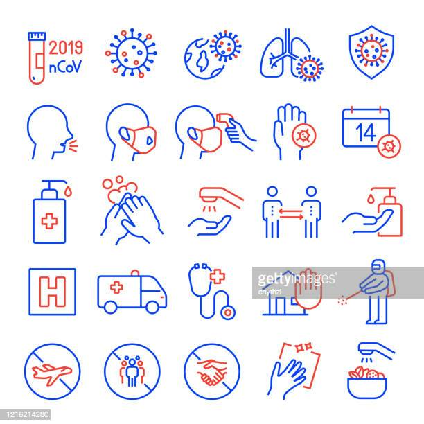 ilustrações de stock, clip art, desenhos animados e ícones de set of coronavirus 2019-ncov related line icons. editable stroke. simple outline icons. - prevention