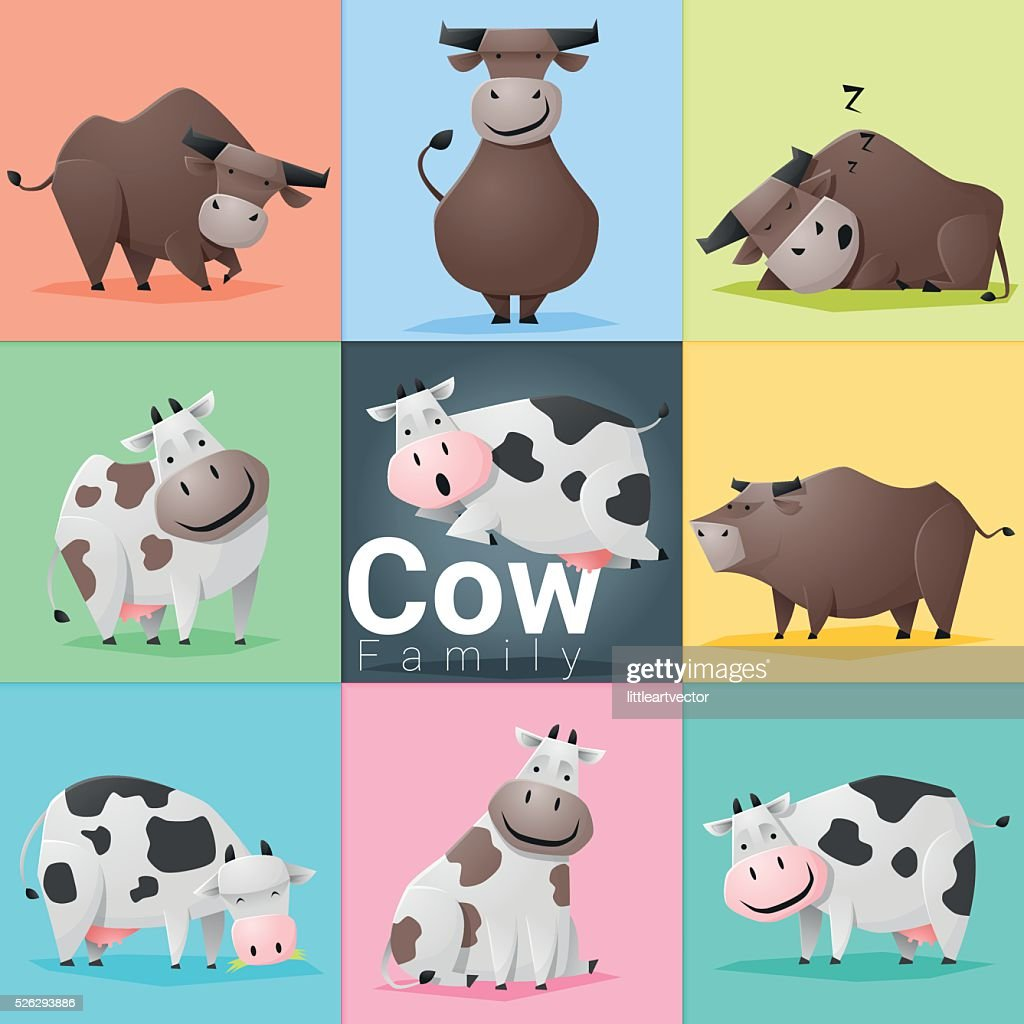 Set of Cow family