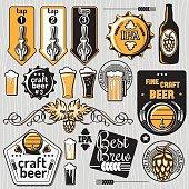 Set of craft beer emblems and design elements