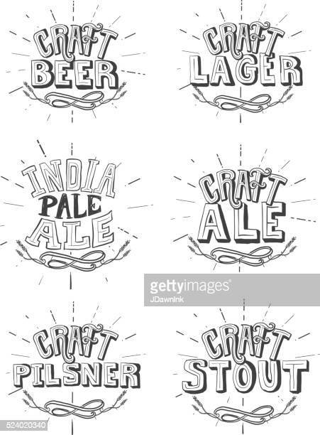 set of craft beer labels hand lettering design - india pale ale stock illustrations, clip art, cartoons, & icons