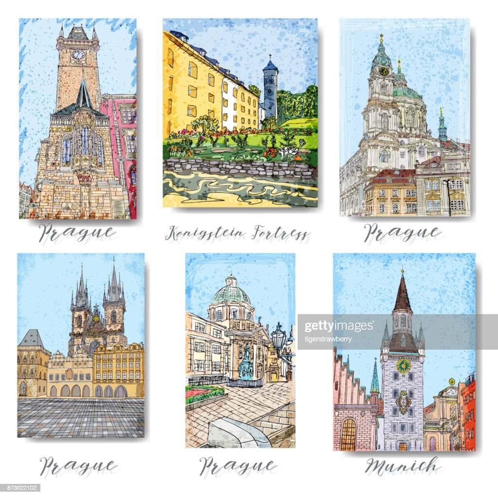 Set of creative artistic invitations and collectible chocolate packaging. Hand drawn ink vacation and travel invite cards or flyers with calligraphic drawings. Prague. Karlovy Vary. Munich.