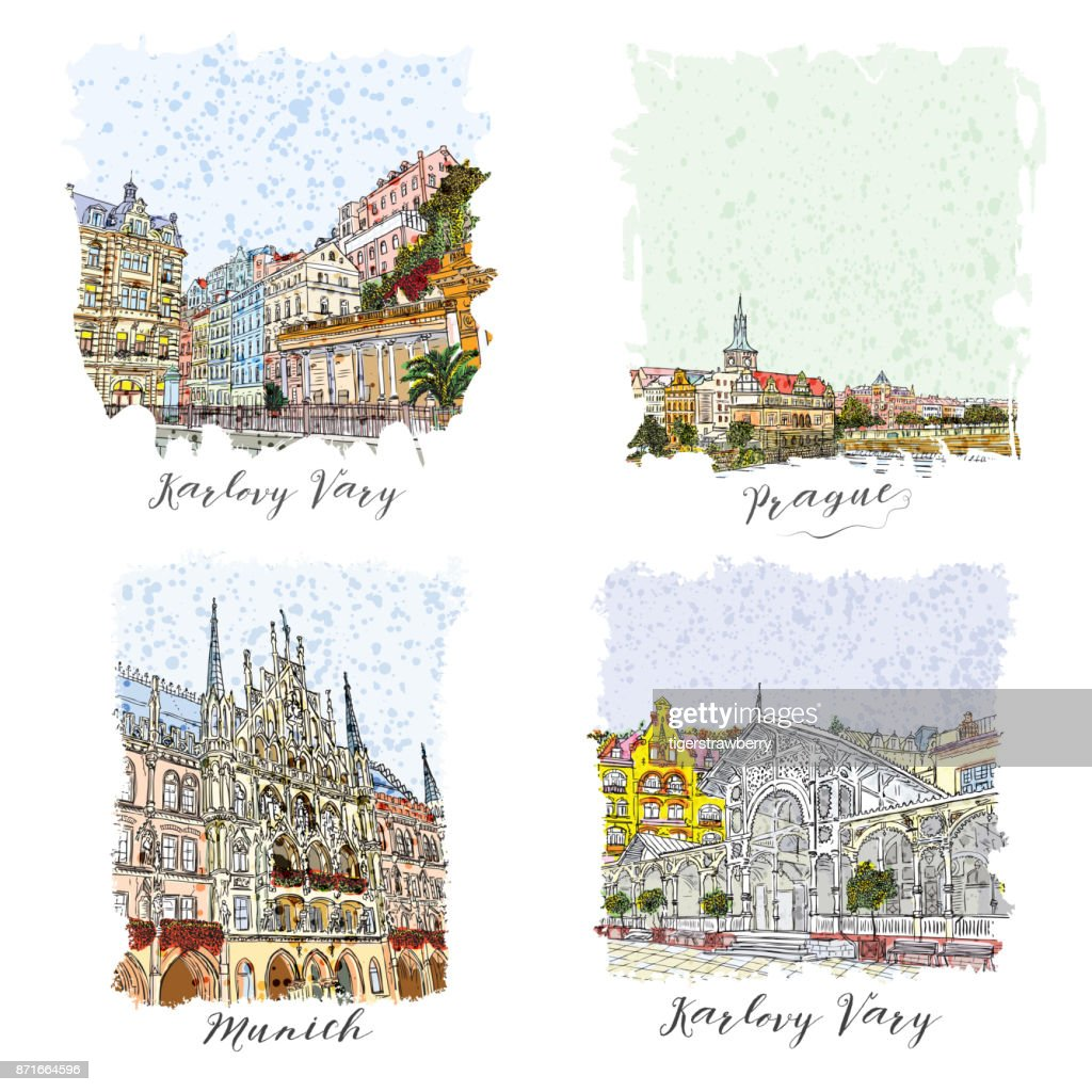 Set of creative artistic invitations. Hand drawn ink vacation and travel invite cards or flyers with calligraphic city writing. Prague, Karlovy Vary, Czech Republic, Munich city in Germany.