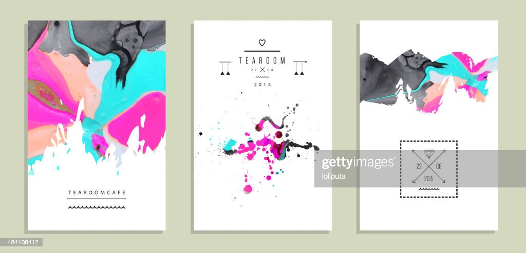 Set of creative artistic invitations with handmade textures