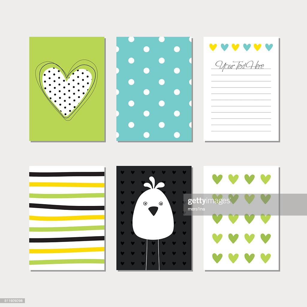 Set of creative cards