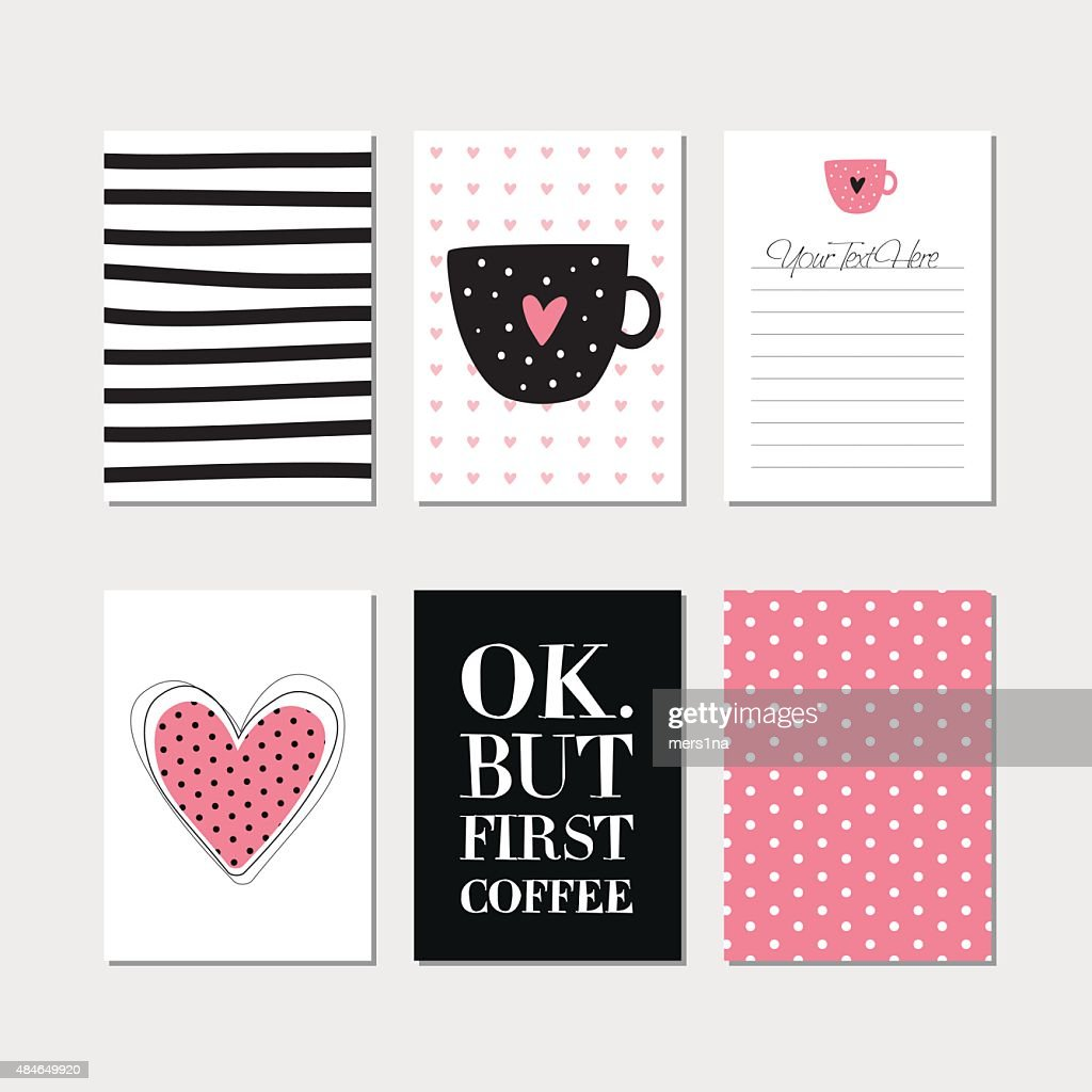 Set of creative cards with coffee theme design