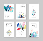 Set of creative cards with geometric outline shapes and crystals
