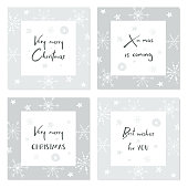 Set of creative Christmas cards with hand drawn lettering. X- mas is coming. Very Merry Christmas. Best wishes for you. Template for greeting cards, scrapbooking, invitations and stickers.