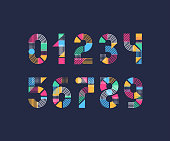 Set of creative color geometry shapes' figures and numbers.