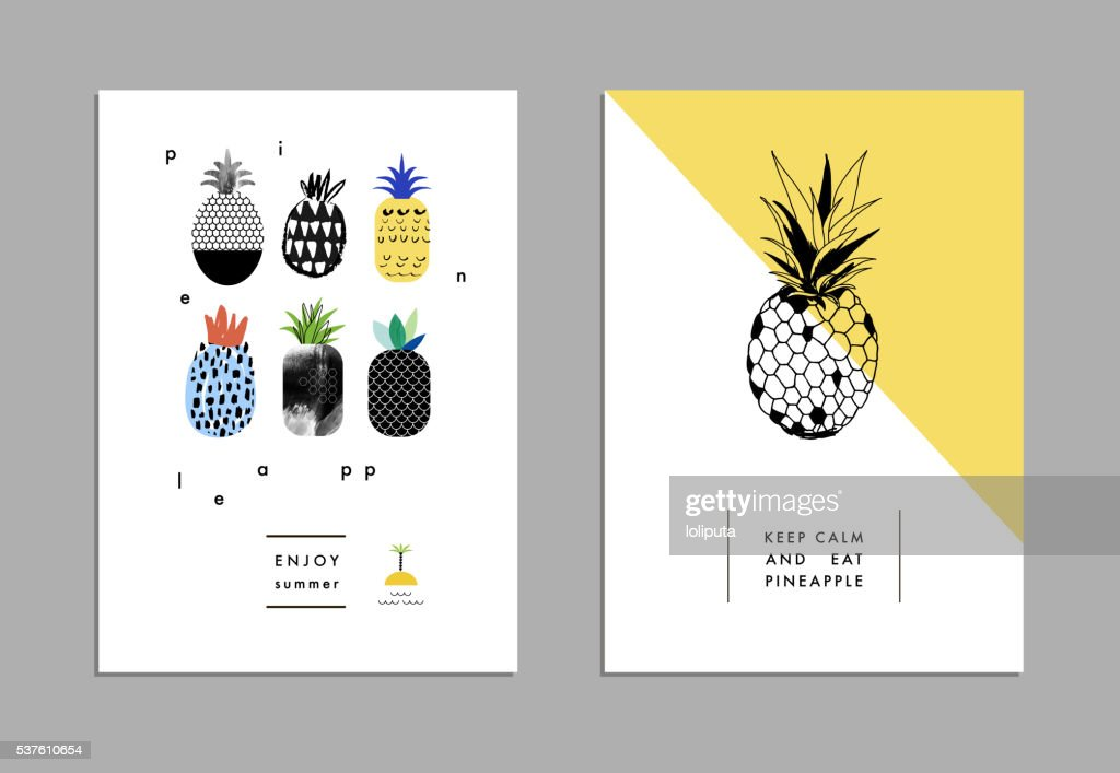 Set of creative trendy art posters with pineapples.