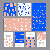 Set of creative universal cards. Hand Drawn textures.