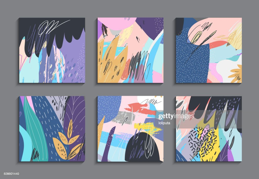 Set of creative universal floral cards. Art posters