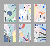 Set of creative universal floral cards in tropical style. Hand Drawn textures.