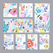 Set of creative universal floral cards, posters, headers.