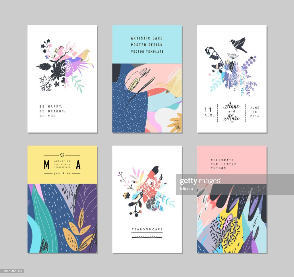 Set of creative universal floral cards