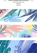Set of creative universal floral headers in tropical style.