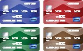 Set of credit cards in 4 different colors