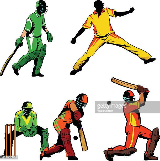 set of cricket players in line and color - cricket player stock illustrations