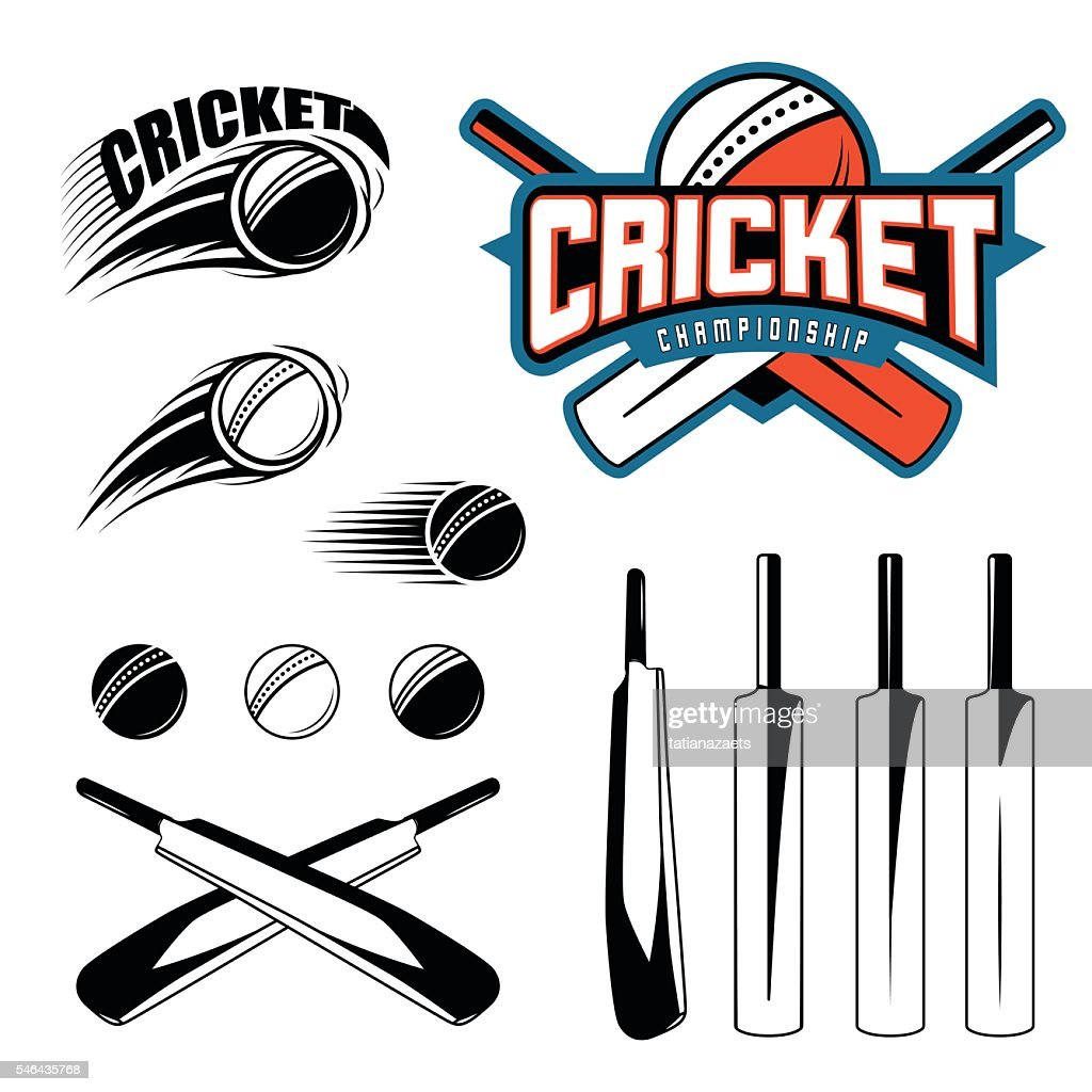 Set of cricket sports template logo elements - ball, bat
