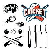 Set of cricket sports template logo elements - ball, bat
