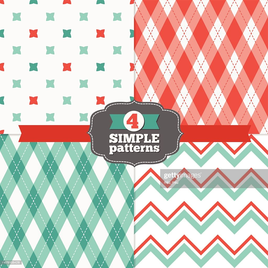 Set of Crosses, Chevron and Argyle Holiday SeamlessPatterns