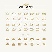 Set of crown line and bold icons