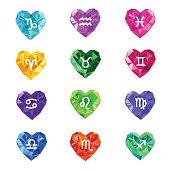 Set of crystal jewel heart shaped astrological zodiac signs symbols.