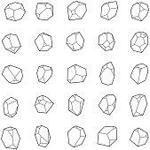 Set of crystals, gems.