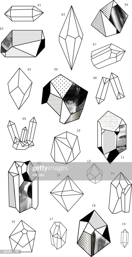 Set of crystals. Geometric shapes.