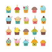 Set of cupcakes and muffins. Cute cartoon characters, emoji