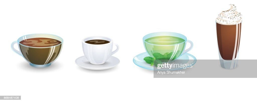 A set of cups with various hot drinks isolated on a white background. Coffee and tea. Vector illustration.