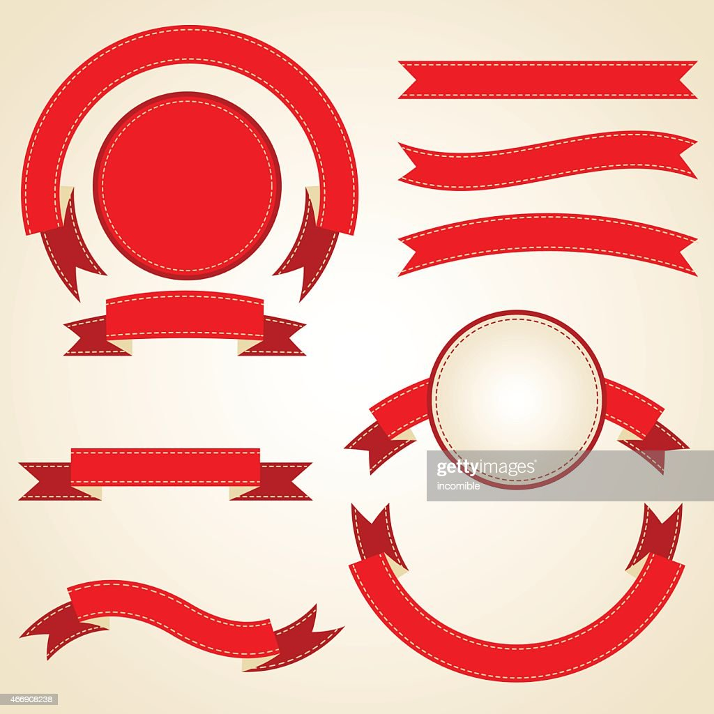 Set of curled red ribbons, vector illustration