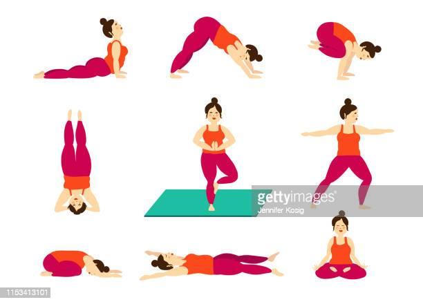 set of curvy girl yoga poses, illustrated - yoga instructor stock illustrations, clip art, cartoons, & icons