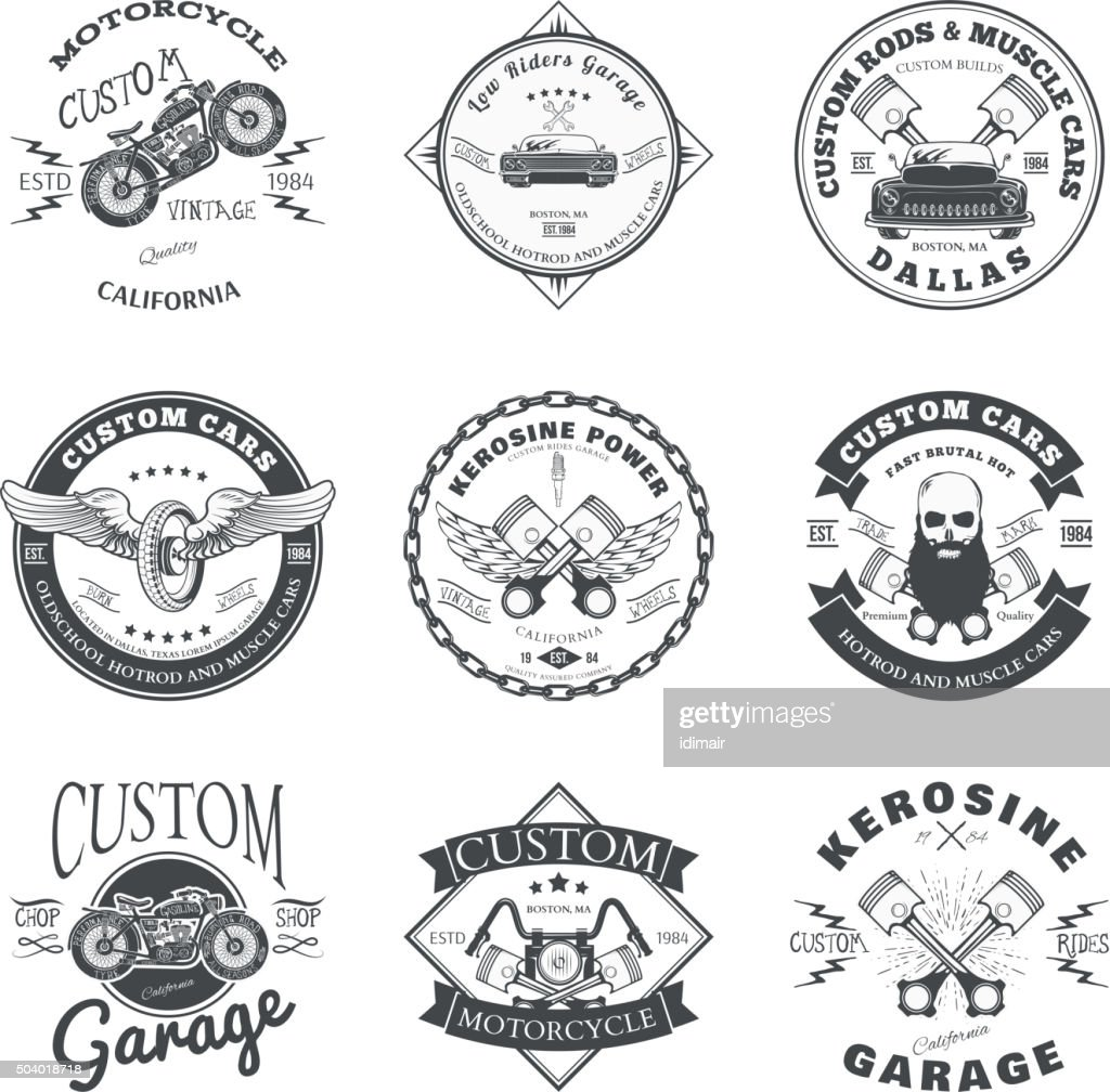Set of Custom Car and Bike Garage Label and Badge