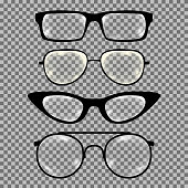 Set of custom glasses isolated