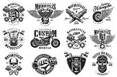 Set of custom motorcycle emblems