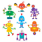Set of cute and funny colorful robot characters