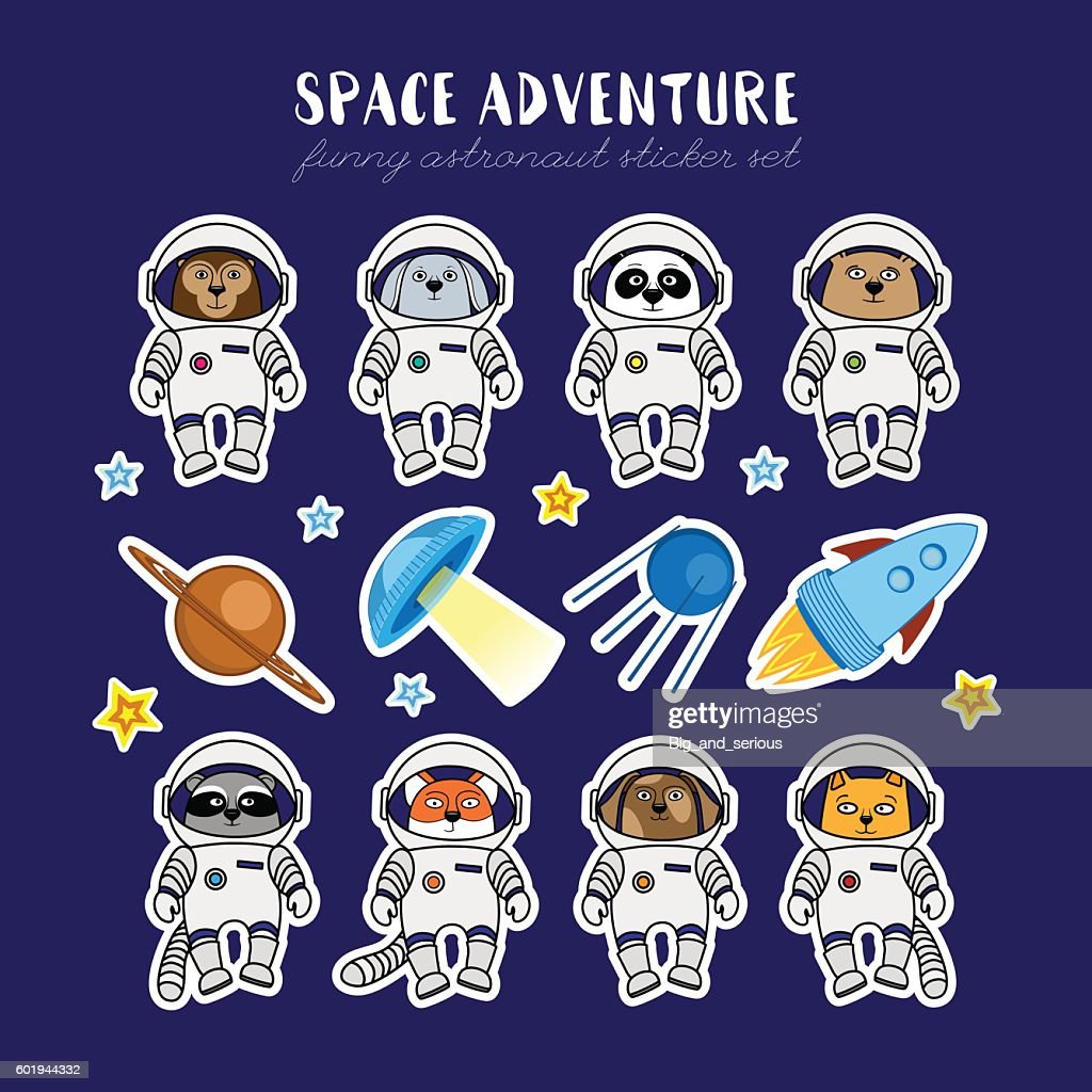 Set of cute animal astronauts, rocket satellite UFO stars cosmos : Vector Art
