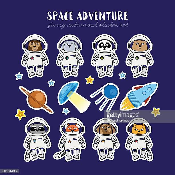 Set of cute animal astronauts, rocket satellite UFO stars cosmos