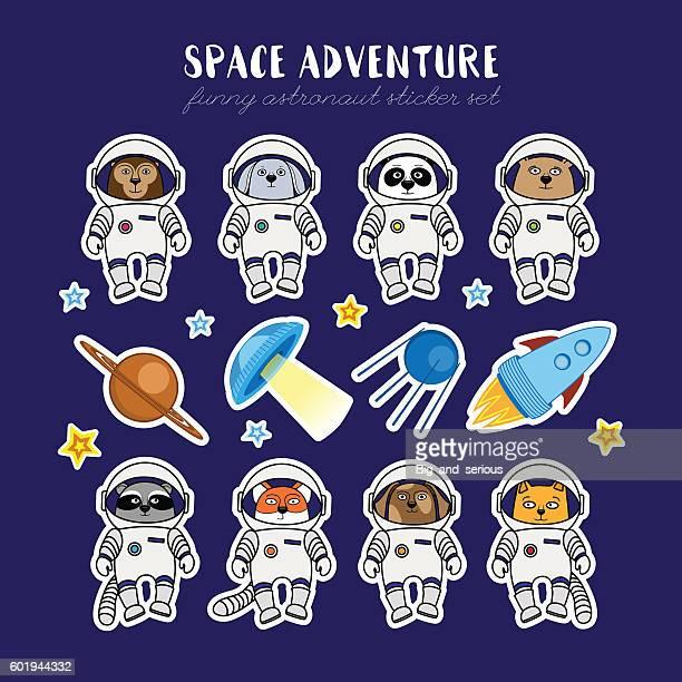 Set of cute animal astronauts, rocket satellite UFO stars cosmos