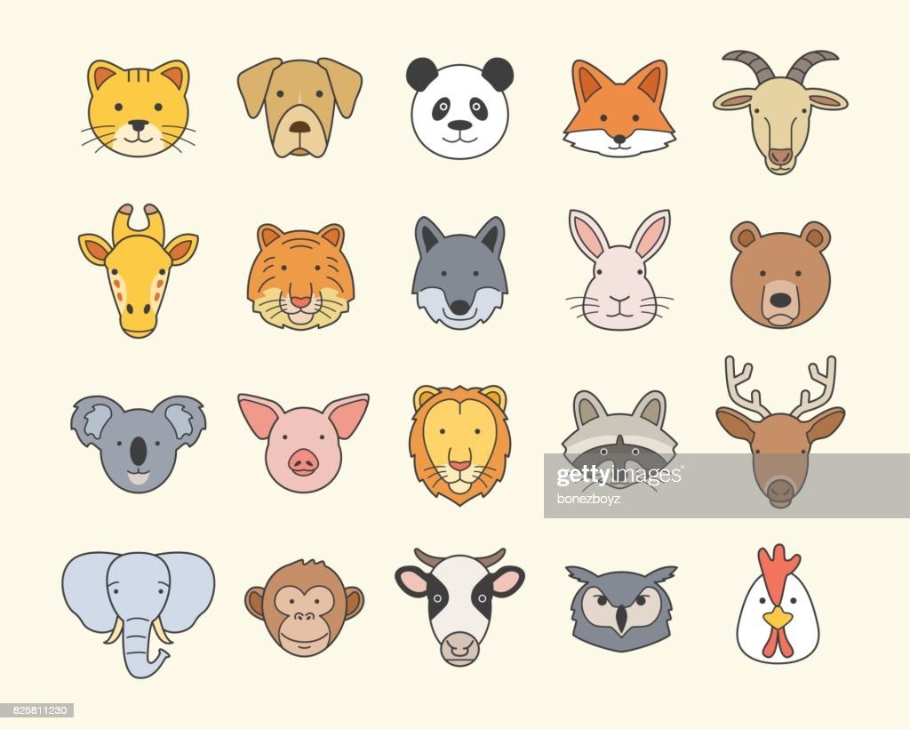 Set of Cute Animal Heads