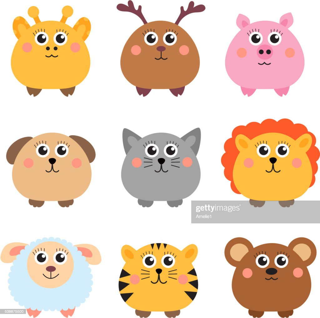 Set of cute animals rounded shape.