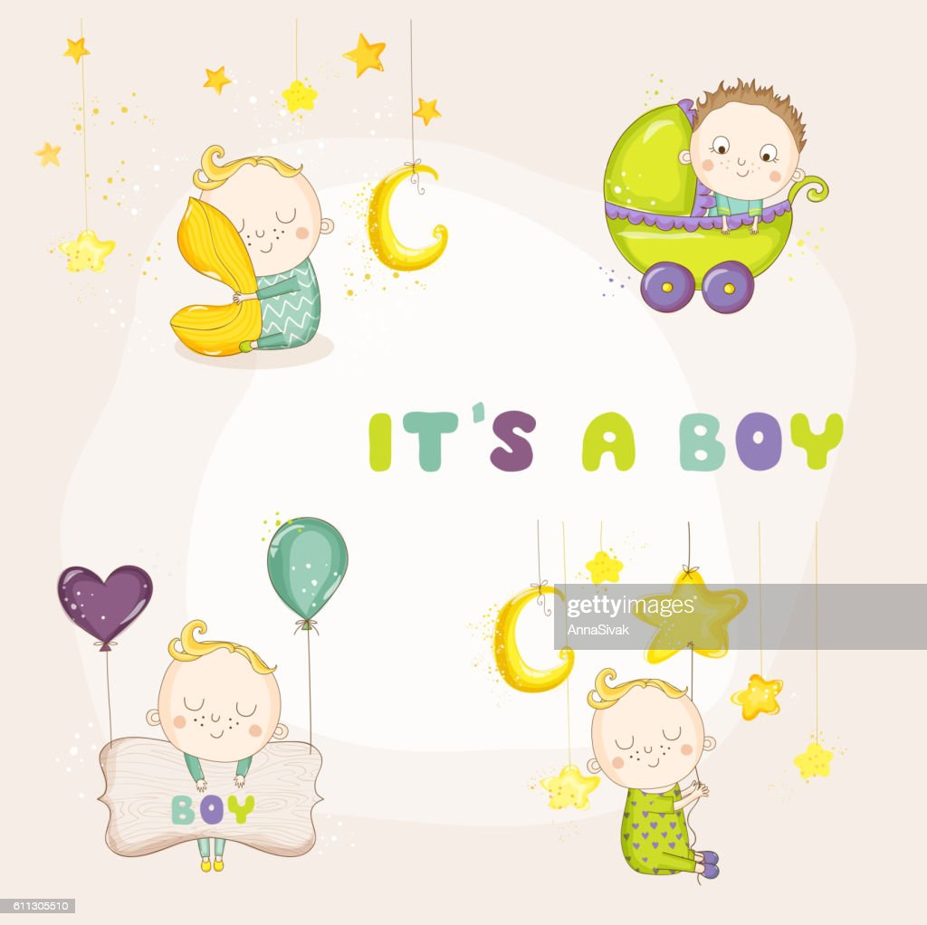Set Of Cute Baby Boy Illustrations For Baby Shower Card Stock