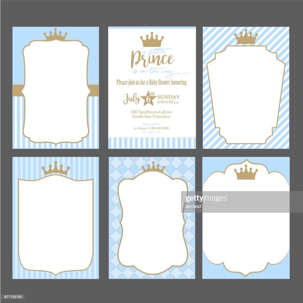 A set of cute blue templates for invitations vintage gold frame with a set of cute blue templates for invitations vintage gold frame with crown a stopboris Choice Image