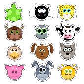 Set of cute cartoon animals. Cute animal face sticker collection.