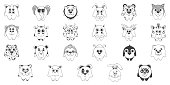 Set of cute cartoon animals.Children's pattern for decoration. Vector illustration of a sketch style.