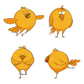 Set of cute cartoon chickens, for print, game, web