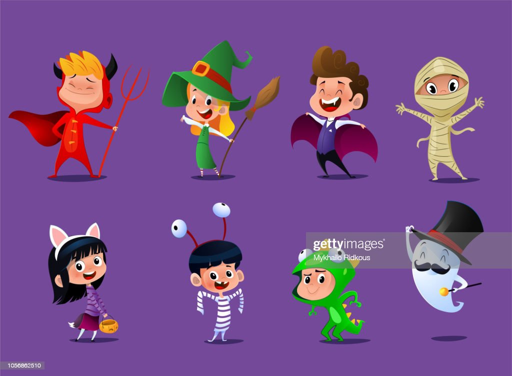 Set of cute cartoon children in colorful halloween costumes