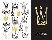 Set of cute cartoon crowns. Hand drawing vector background. Vector