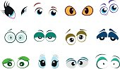Set of cute cartoon eyes with different emotions.